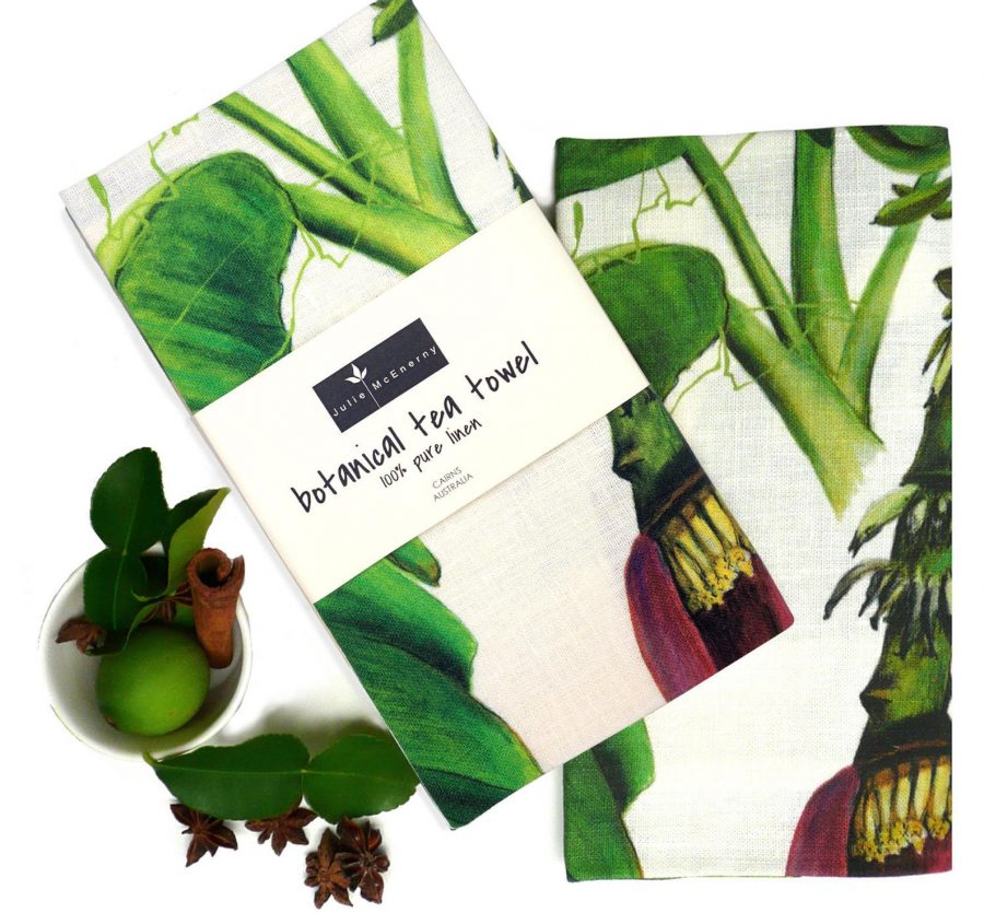 banana flower botanical linen tea towel