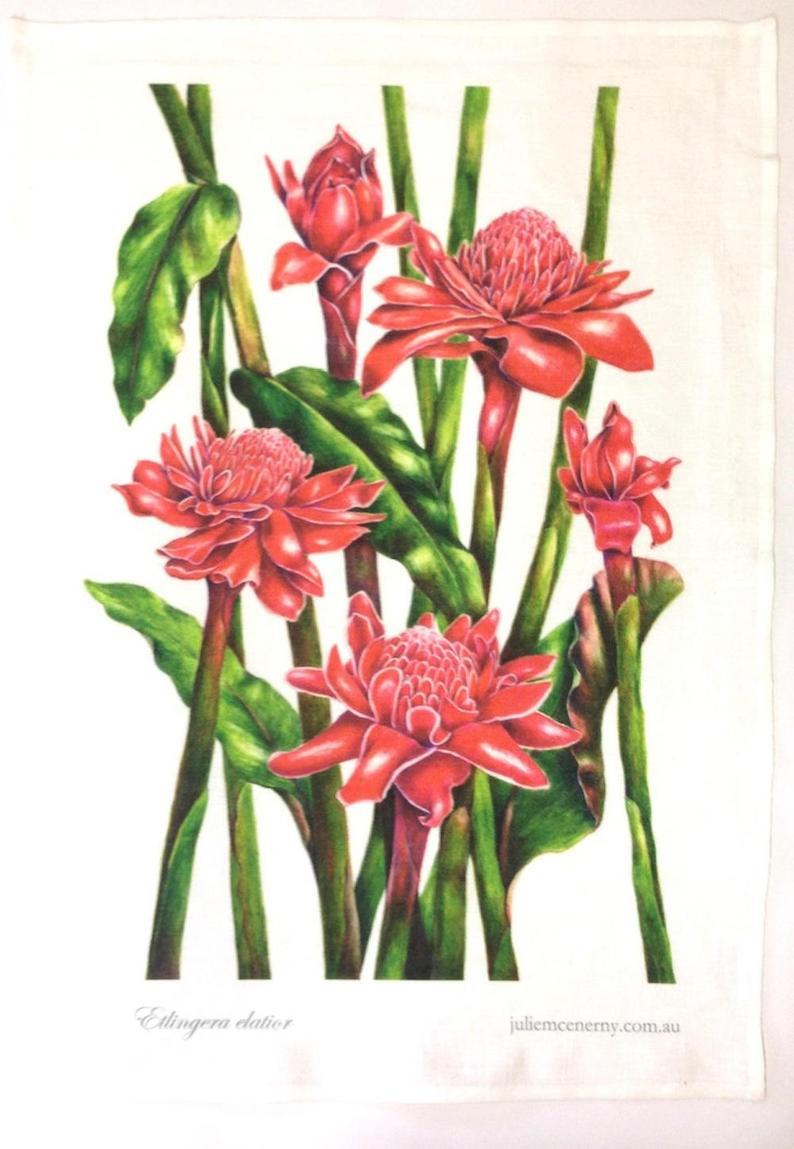 botanical linen tea towel